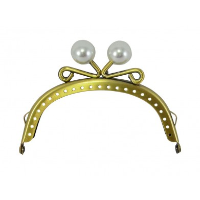 Boquilla monedero oro viejo 10 cm perlas blancas
