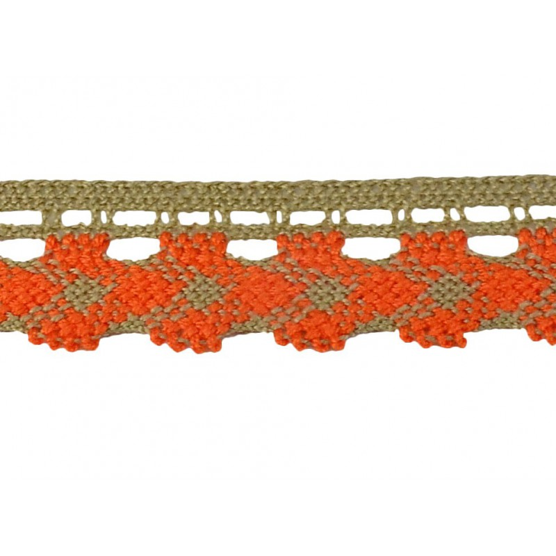 Puntilla hilo naranja/camel 2,5 cm