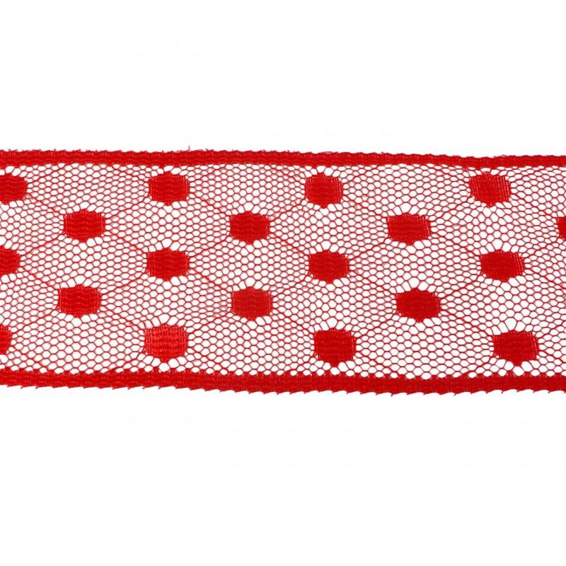 Puntilla nylon rojo 5 cm