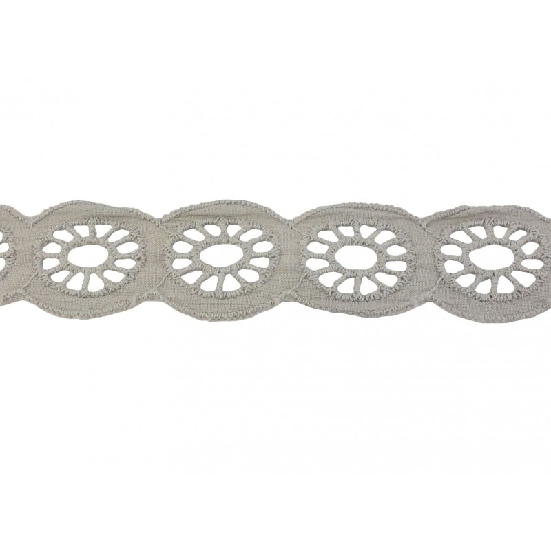 Tira bordada gris 2,5 cm