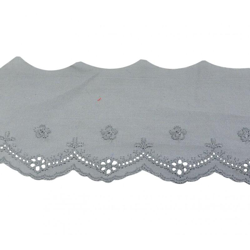Tira bordada gris 5,5 cm