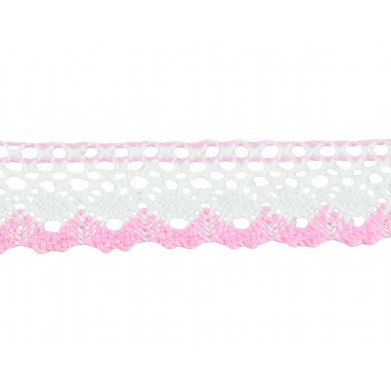 Puntilla hilo rosa blanco 2,5 cm