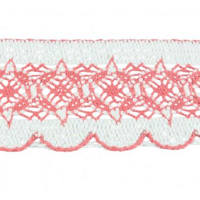 Puntilla hilo rosa blanco 6 cm