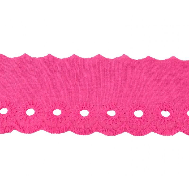 Tira bordada rosa 4,5 cm