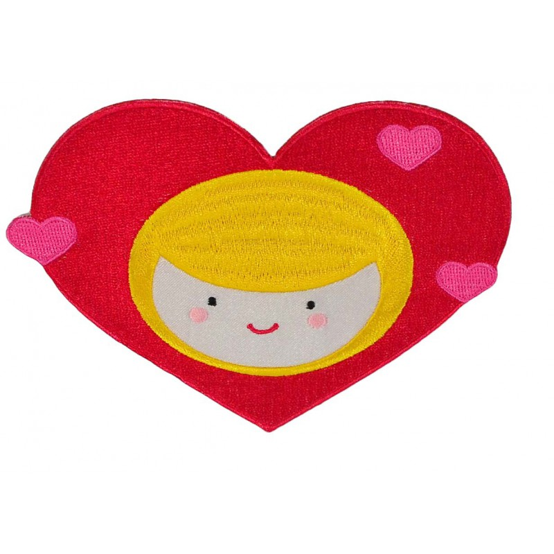 Aplique corazón niña 10 cm x 13 cm
