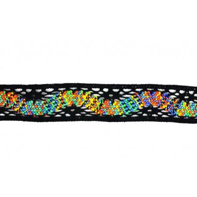 Puntilla hilo negro arcoíris 3 cm