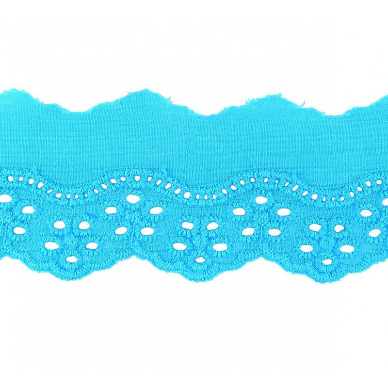 Tira bordada azul 4 cm