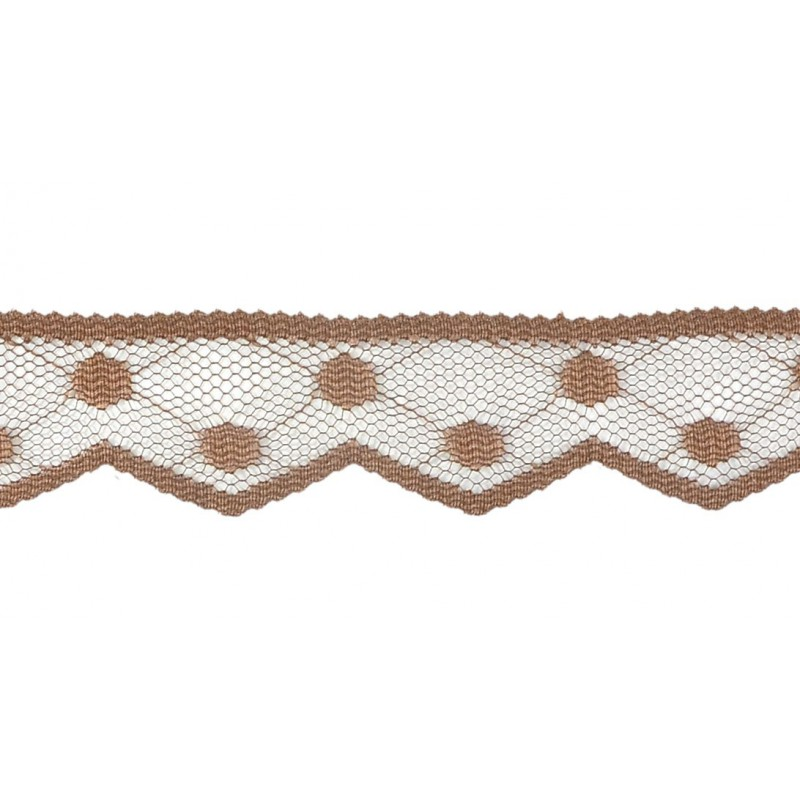 Puntilla nylon marrón 2,5 cm