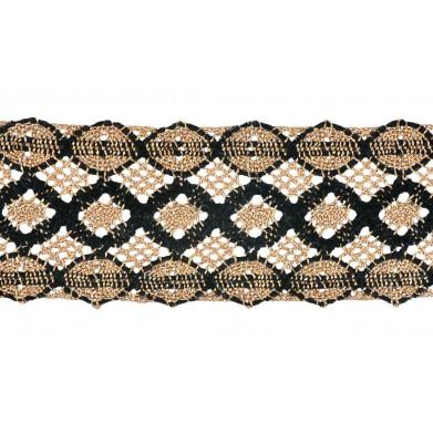 Puntilla hilo negro dorado 5 cm