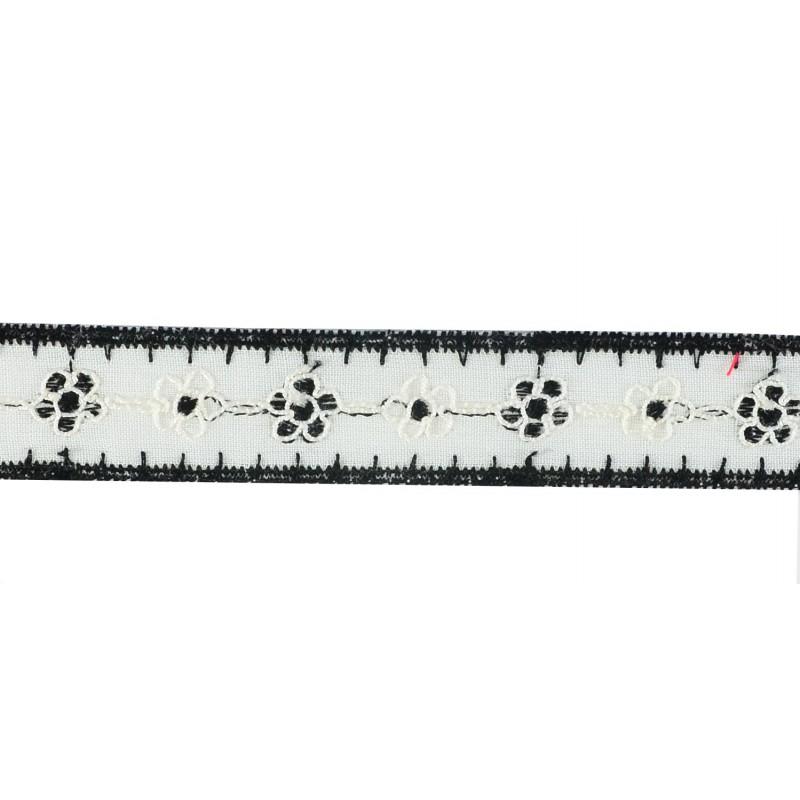 Tira bordada blanco negro 1,8 cm