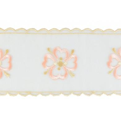 Puntilla cristal blanco/dorado/rosa 8,5 cm