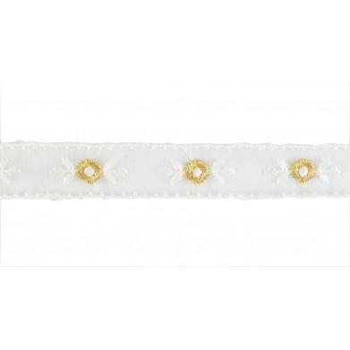 Puntilla cristal blanco/dorado 2 cm