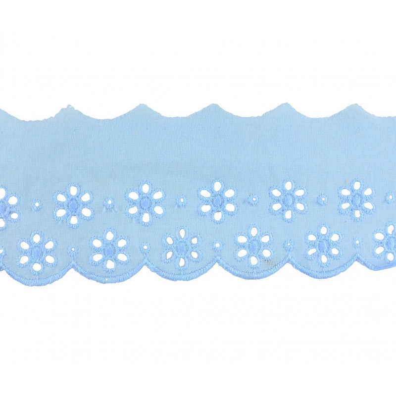 Tira bordada azul 6,5 cm
