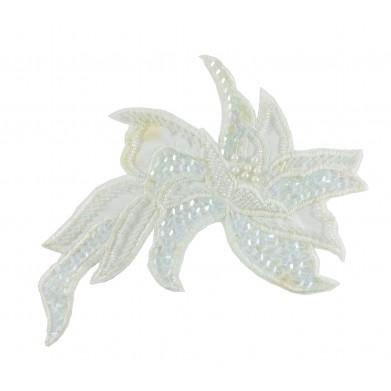 Flor lentejuelas blanca