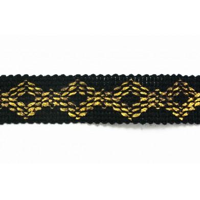 Pasamanería negra y dorada 2,5 cm