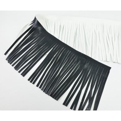 Fleco cuero negro y blanco 12 cm
