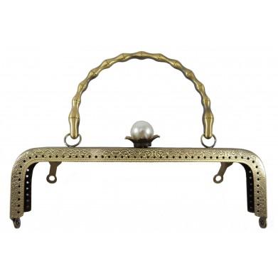 Boquilla bolso oro viejo cierre perla 20 cm