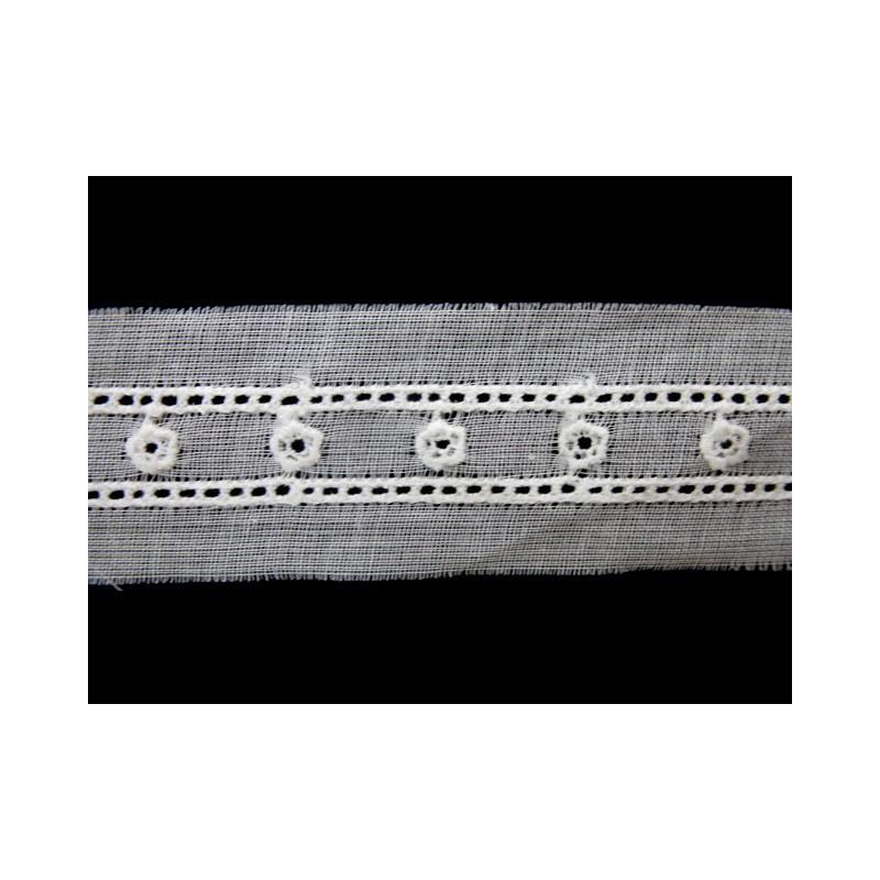 Tira bordada blanca 1 cm