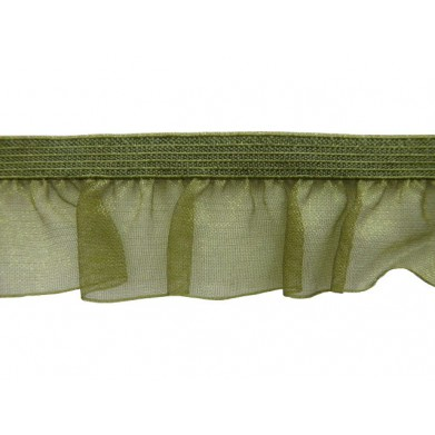Fruncido elástico de organza verde