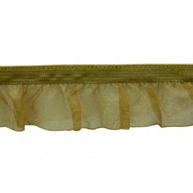 Fruncido elástico de organza marrón