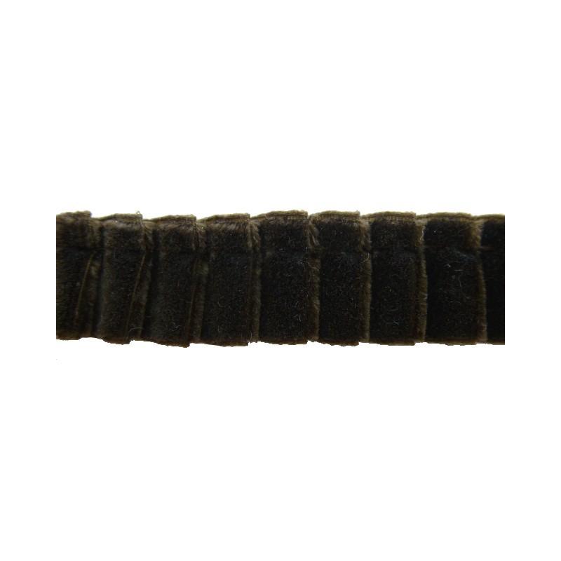 Plisado terciopelo marrón oscuro 16 mm