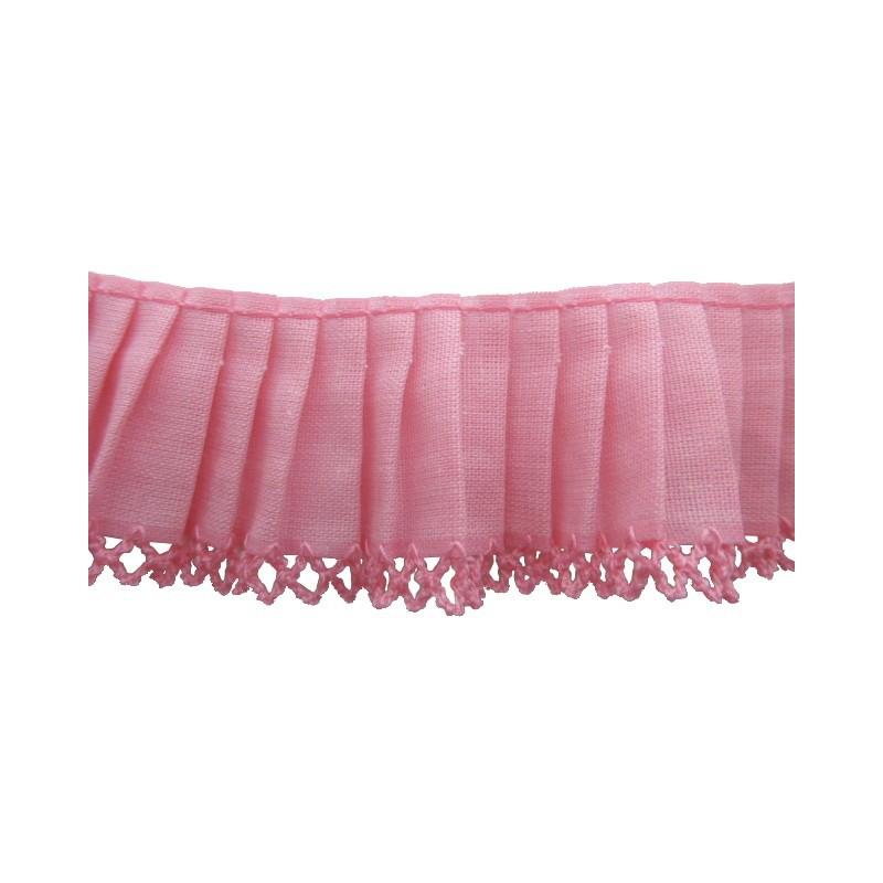 Plisado algodón rosa 3,5 cm