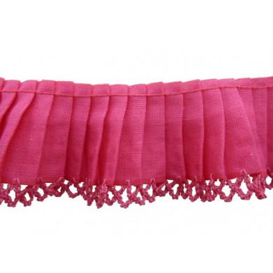 Plisado algodón fucsia 3,5 cm