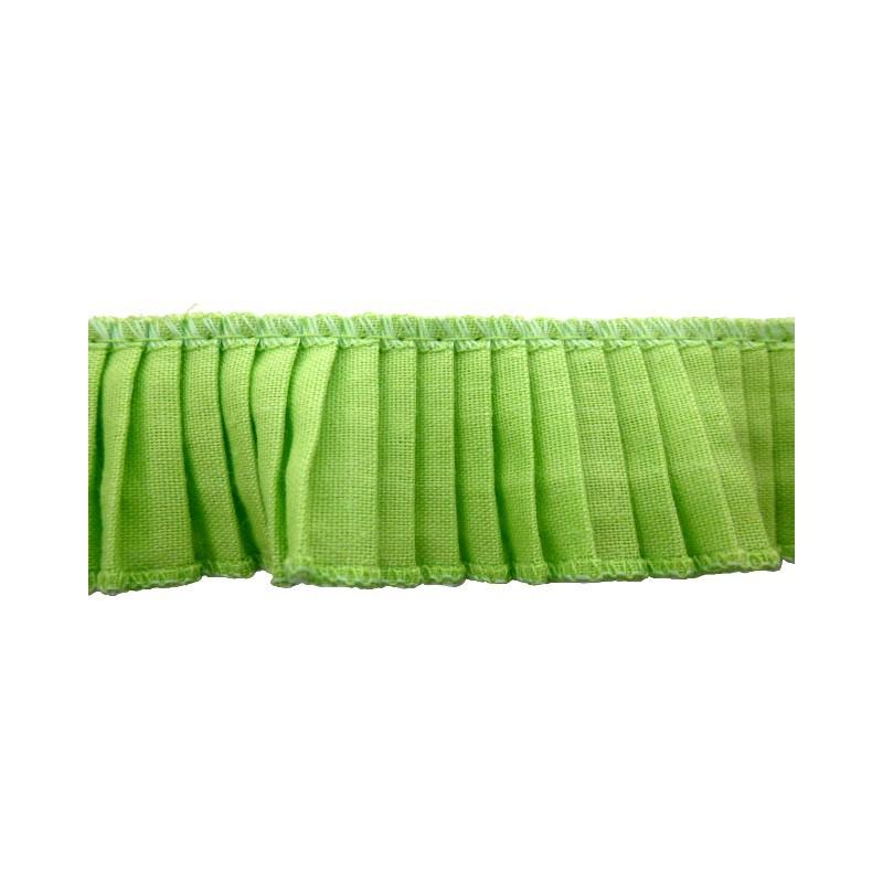 Plisado algodon verde lima 3 cm