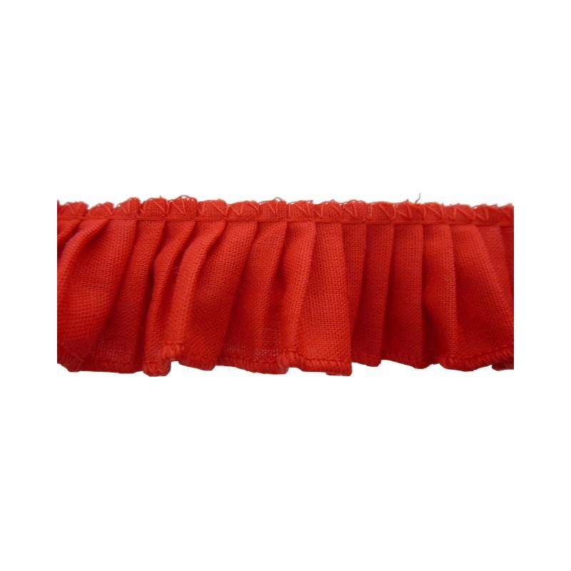 Plisado algodon rojo 3 cm