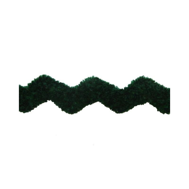Zig zag terciopelo verde 1,5 cm