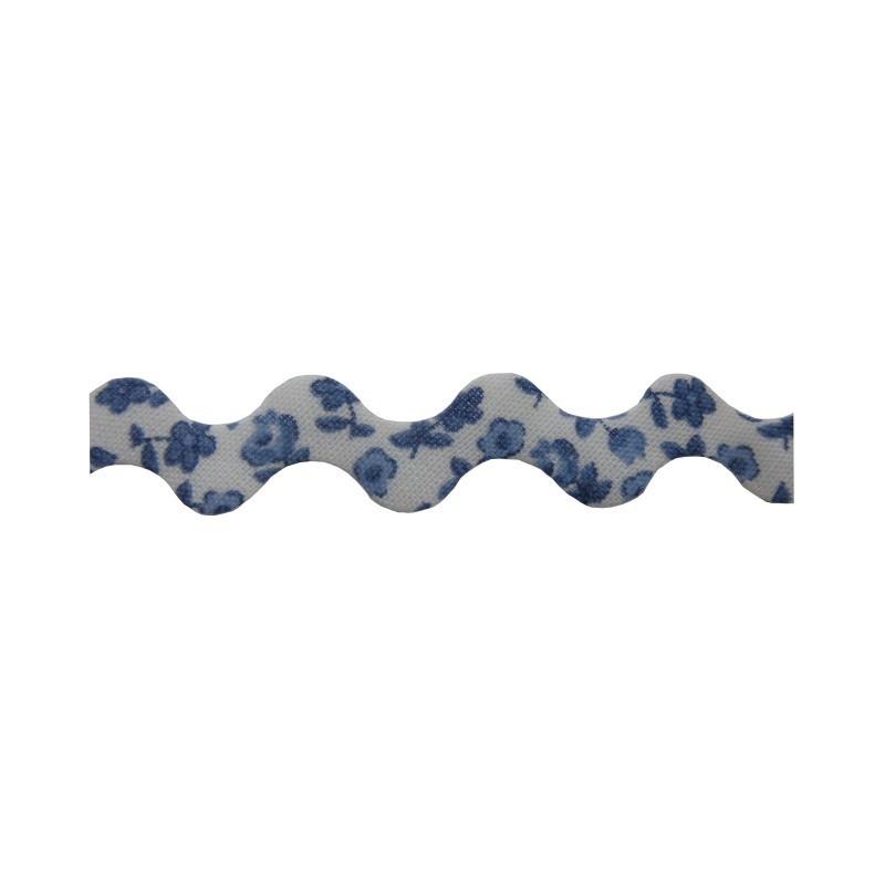 Zig zag flores azul 15 mm