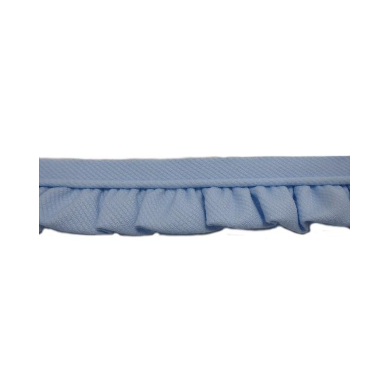 Vivo con fruncido de piqué azul (2,5 cm)