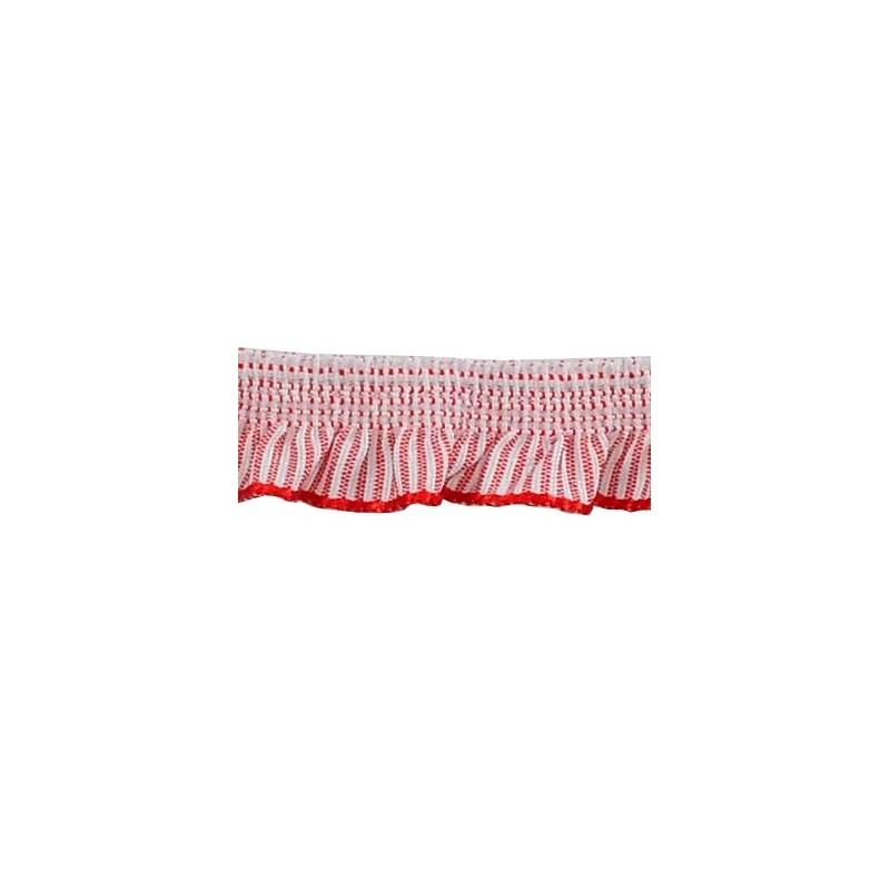 Fruncido elástico rayas rojas 1.3cm