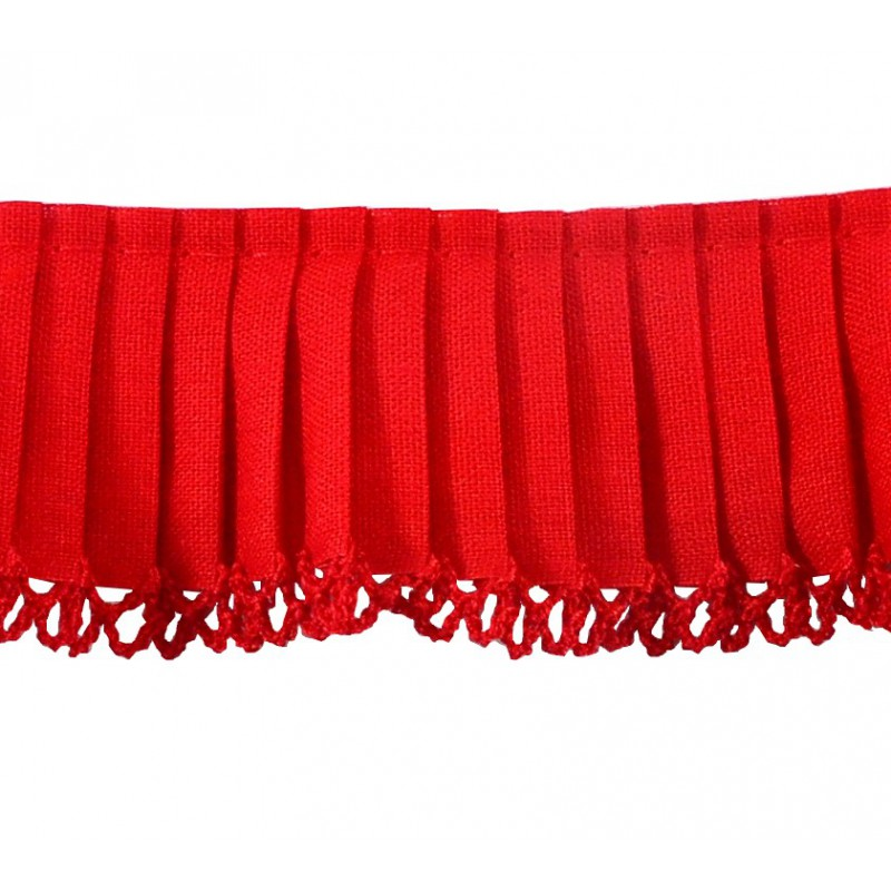 Plisado algodón rojo 3,5 cm