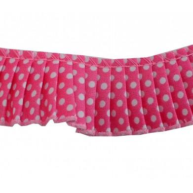 Plisado algodon rosa lunares