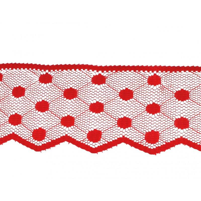Puntilla nylon rojo 4,8 cm