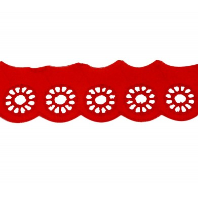 Tira bordada rojo ruedas 3 cm