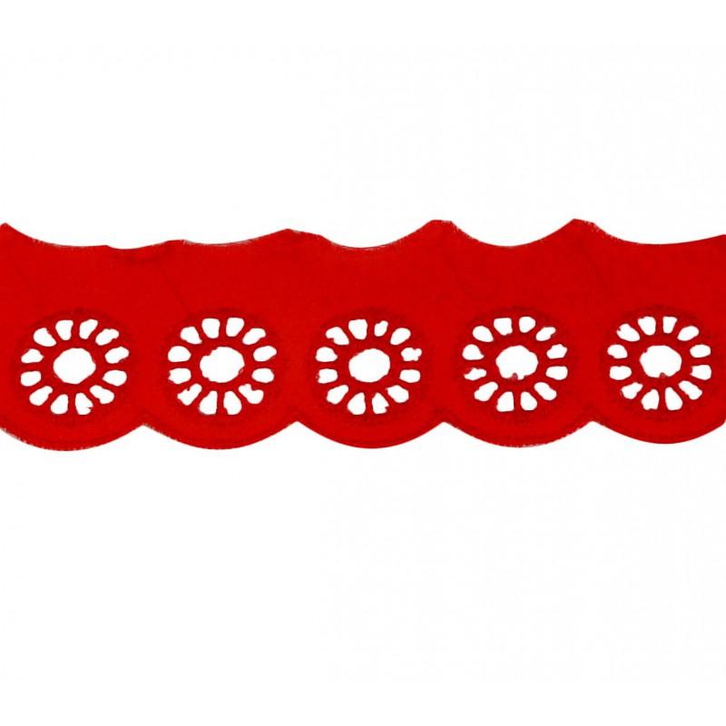 Tira bordada rojo 3 cm