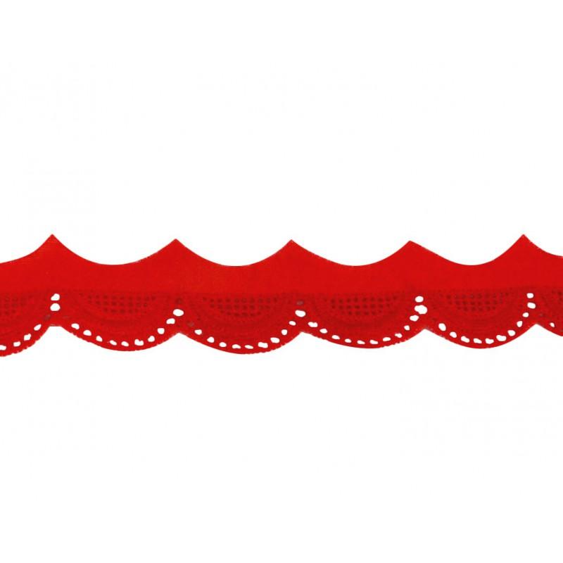 Tira bordada rojo 2 cm