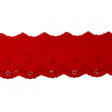 Tira bordada rojo 5 cm