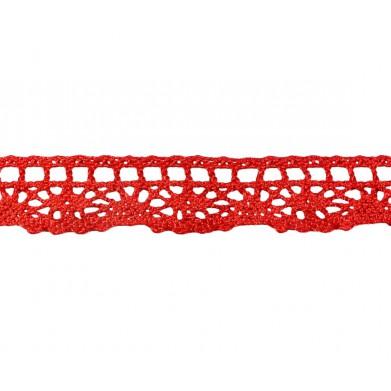 Puntilla hilo rojo brillo 2 cm