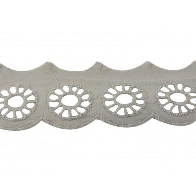 Tira bordada gris ruedas 3 cm