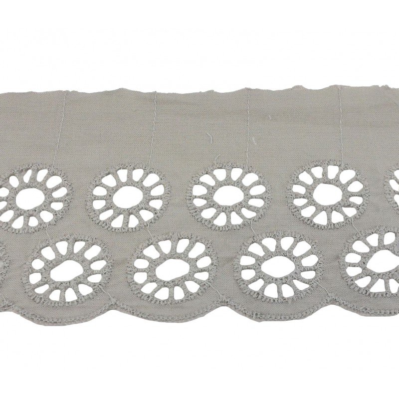 Tira bordada gris 5 cm