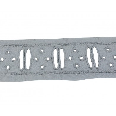 Tira bordada gris 3,5 cm
