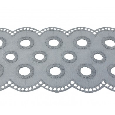 Tira bordada gris 6,5 cm