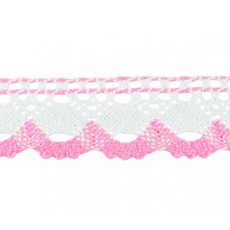 Puntilla hilo rosa blanco 4 cm