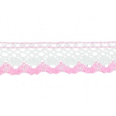 Puntilla hilo rosa blanco...