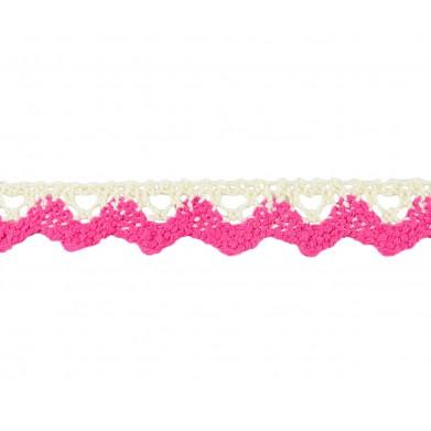 Puntilla hilo beige/rosa...