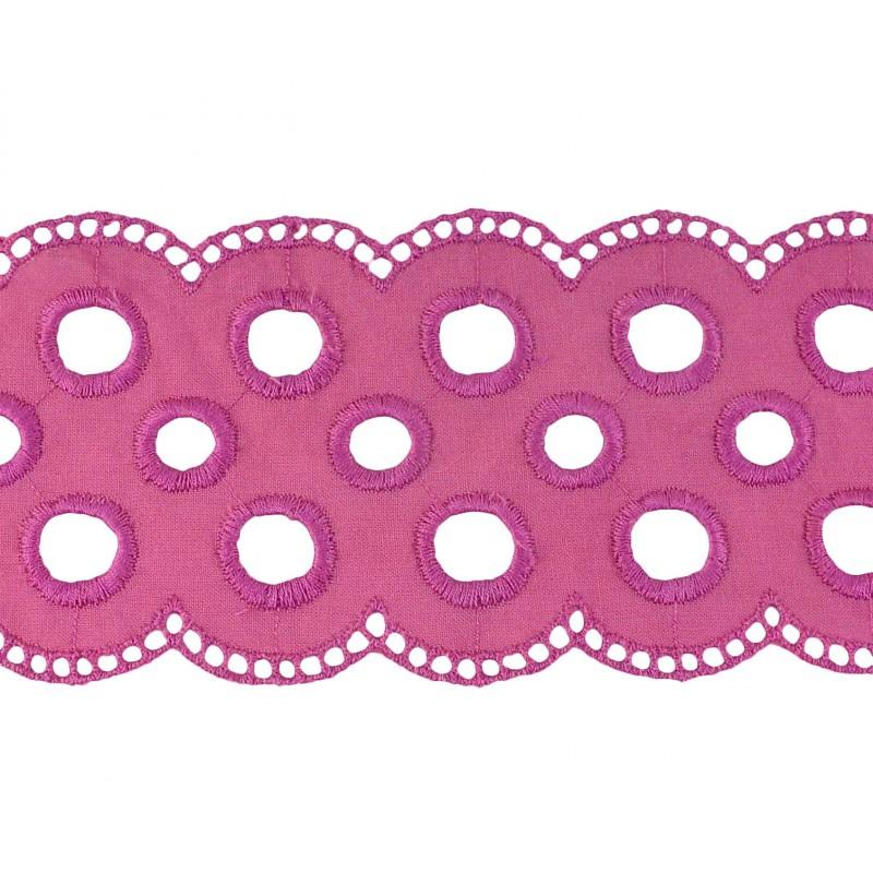 Tira bordada rosa 6,5 cm