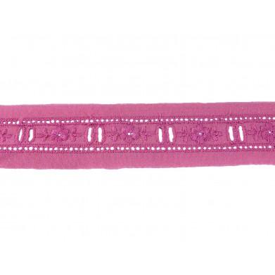 Tira bordada rosa 2,5 cm